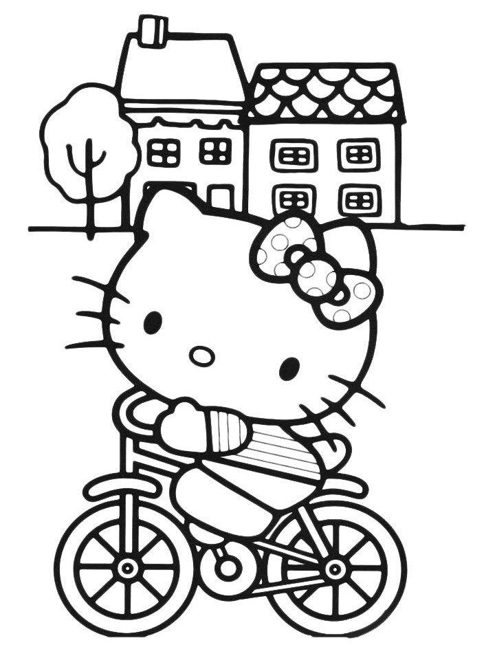 Раскраска Kitty катается на велосипеде