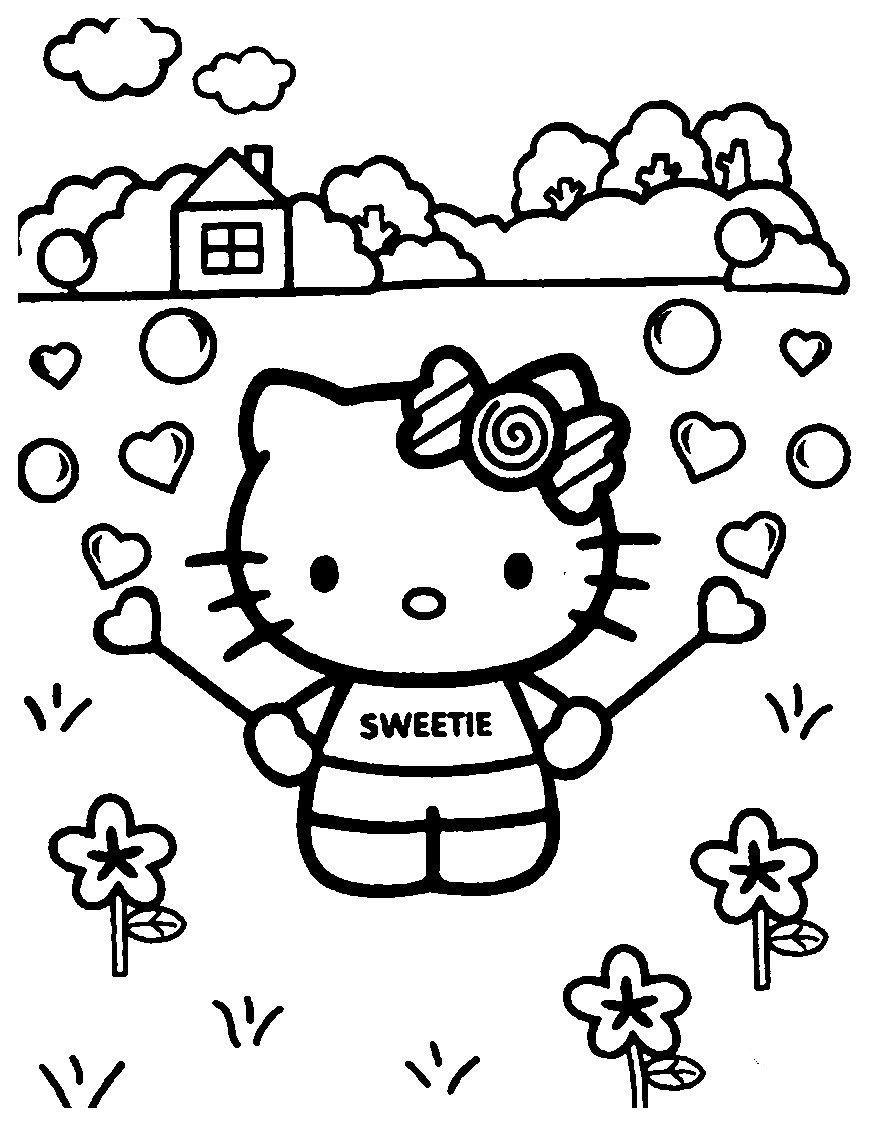 Раскраска Kitty на природе