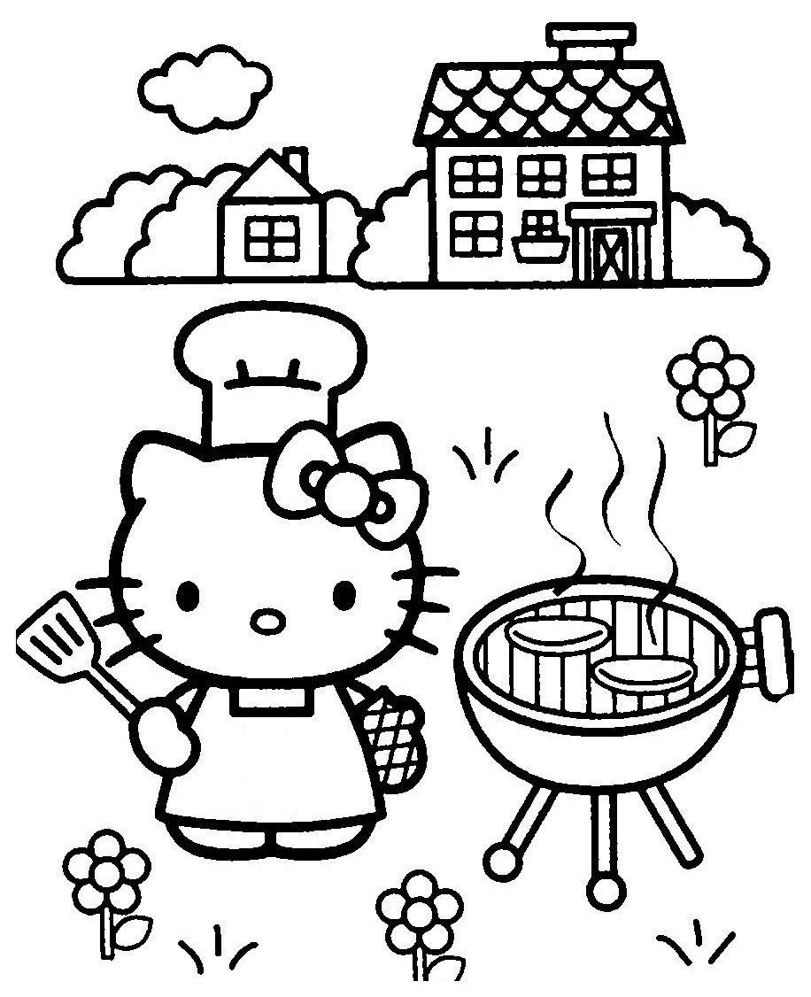 Раскраска Kitty печёт лепёшки