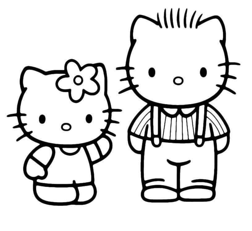Раскраска Kitty разговаривает с папой