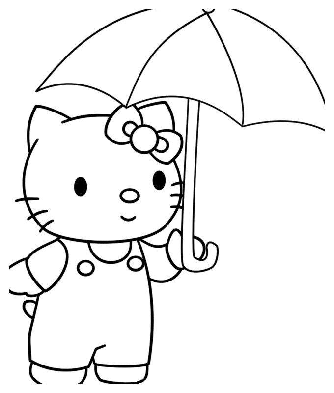 Раскраска Kitty с новым зонтиком