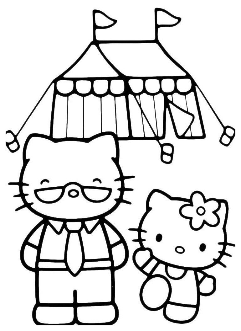 Раскраска Kitty с папой пошла в поход