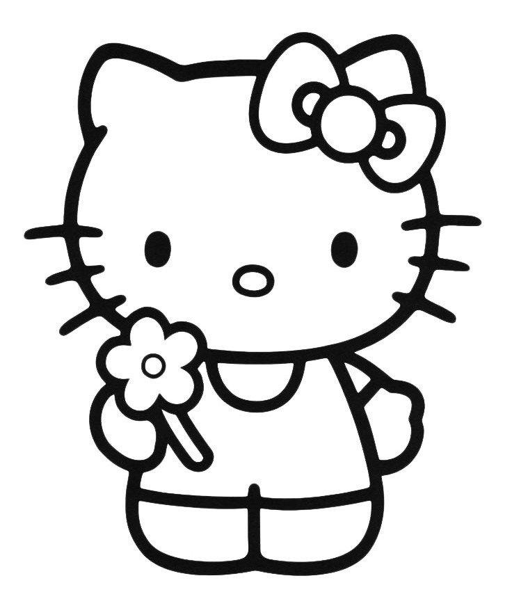 Раскраска Kitty с цветочком