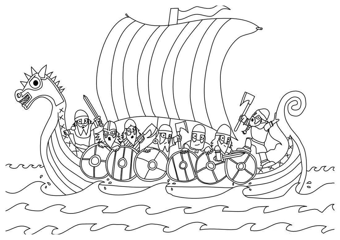 Раскраска Корабль викингов