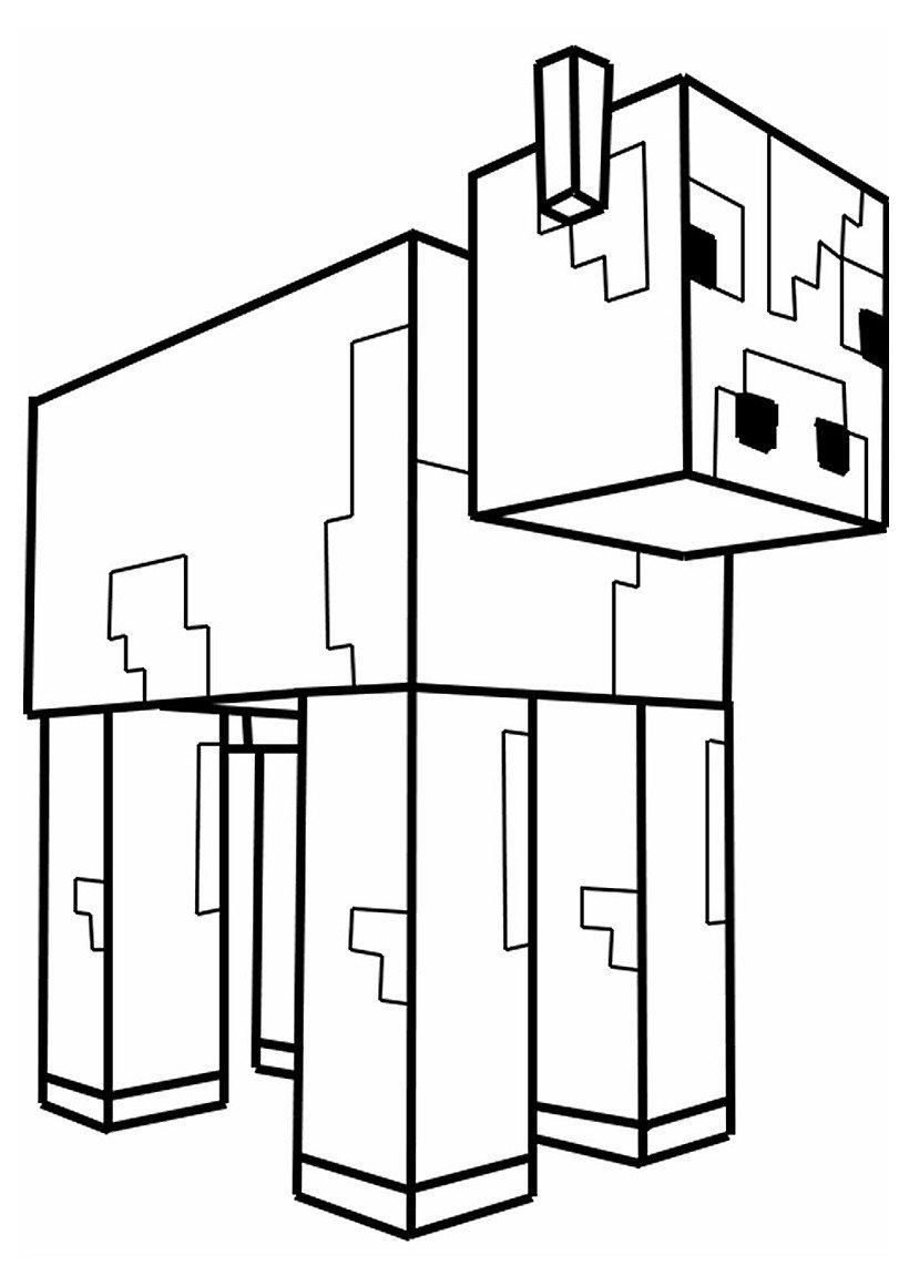 Раскраска Корова из Майнкрафт