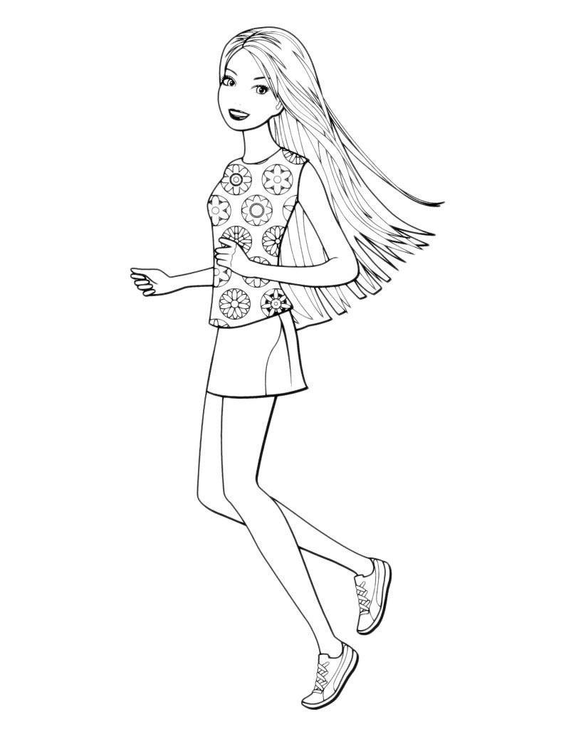 Раскраска Летняя прогулка Barbie