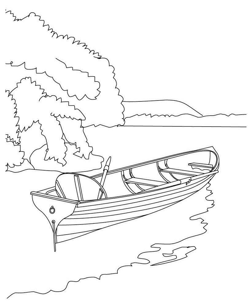 Раскраска Лодка на берегу