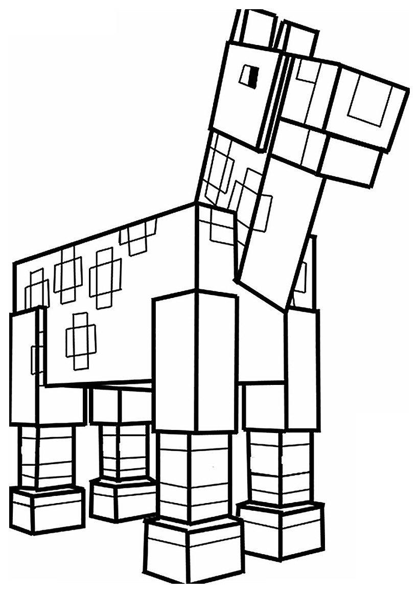 Раскраска Лошадь из Майнкрафт