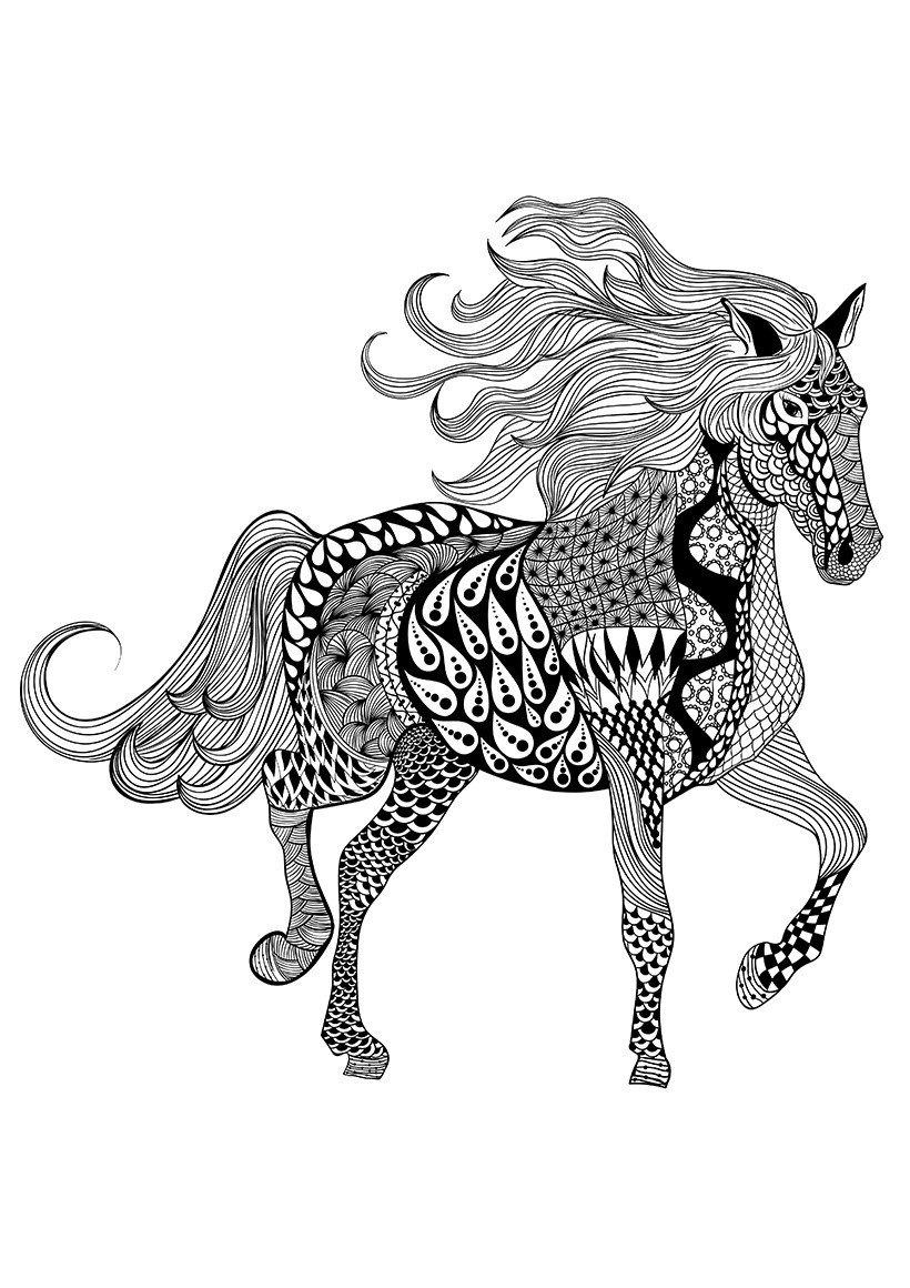 Раскраска Лошадь - распечатать бесплатно в формате А4