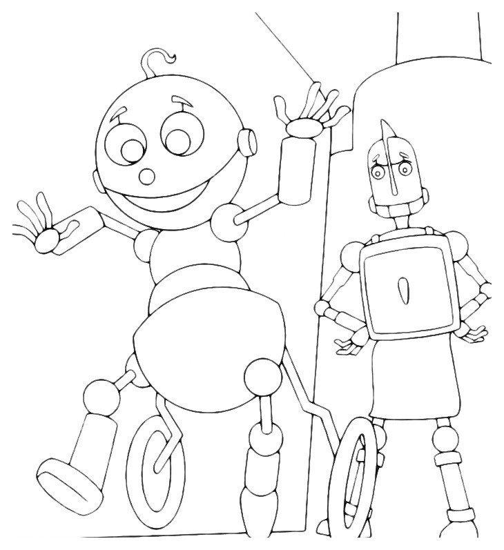 Раскраска Маленький робот с мамой