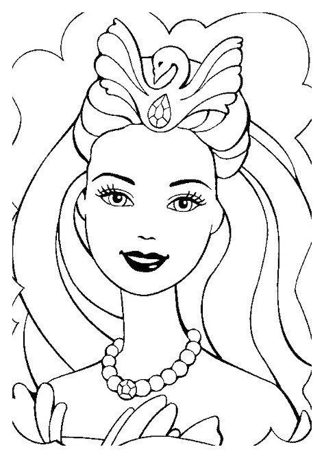 Раскраска Мечтательная Барби-красавица