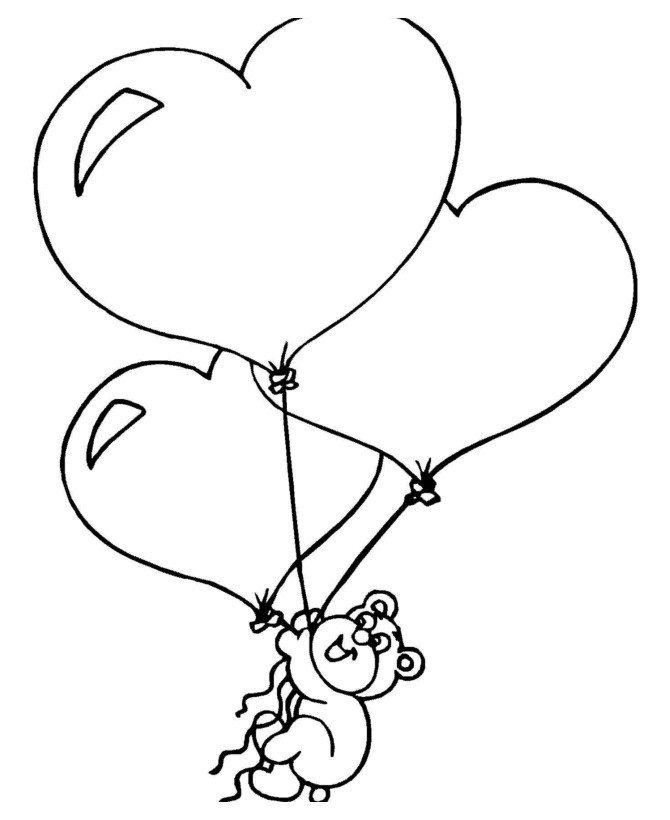 Прикольные, мишка с шарами раскраска
