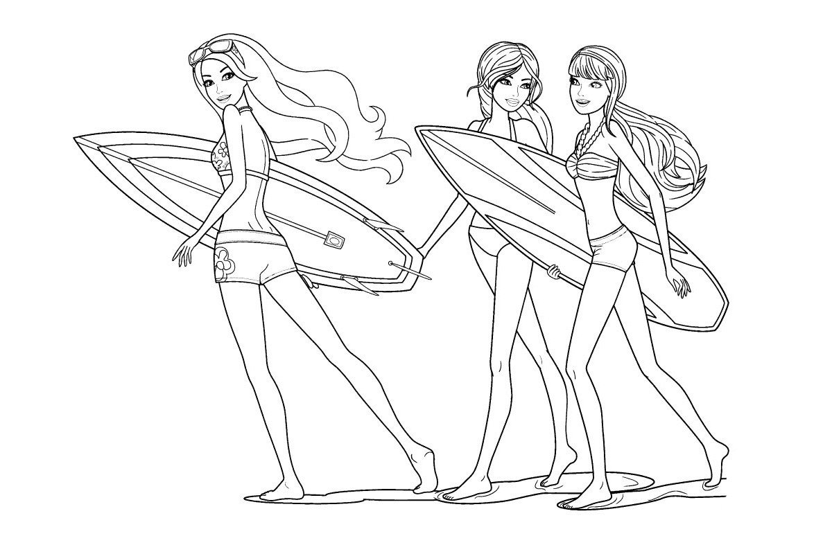 Раскраска Мерлия с доской для серфинга
