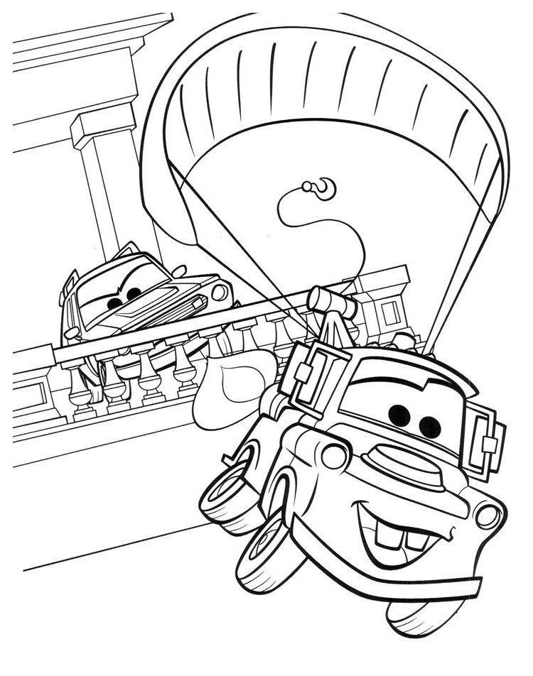 Раскраска Мэтр (Mater) скрывается от полиции на парашюте