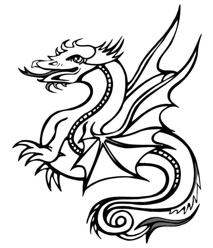 Раскраска Забавный дракончик - распечатать бесплатно в ...