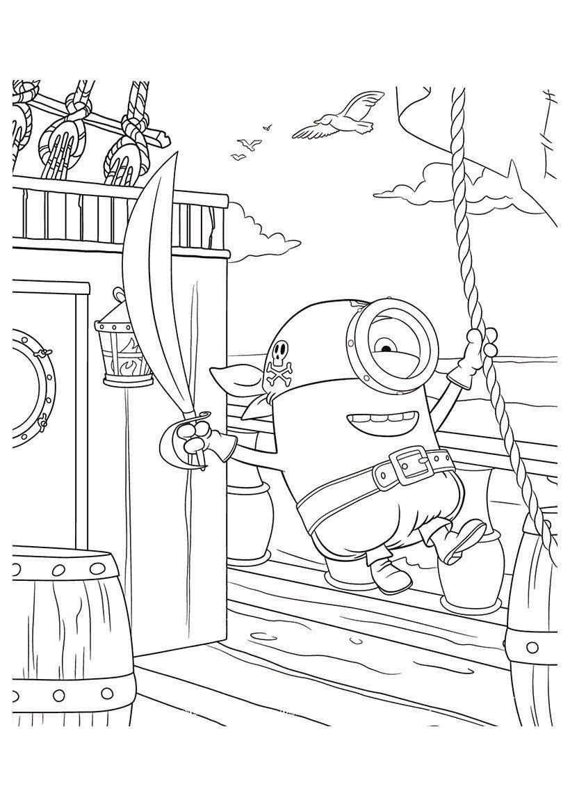 Раскраска Миньон пират