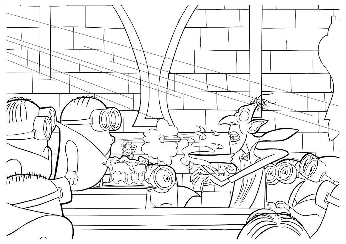 Раскраска Миньоны и Дракула
