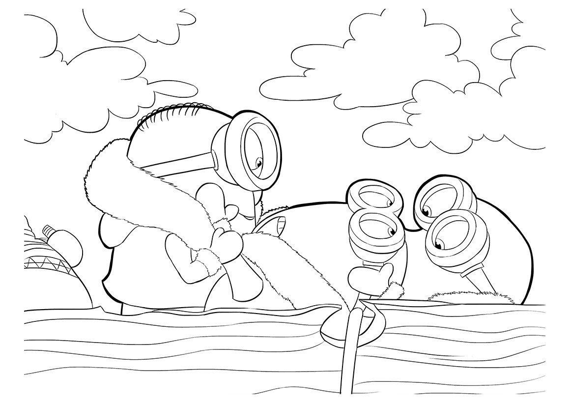 Раскраска Миньоны в лодке