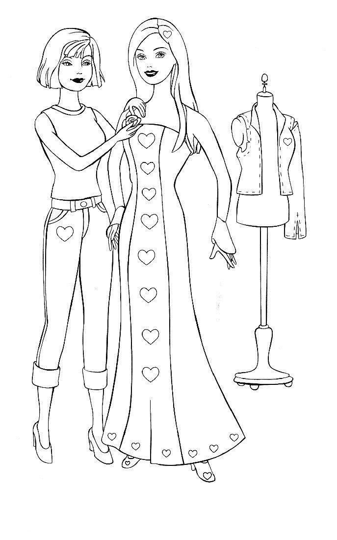 Раскраска Новое платье Барби