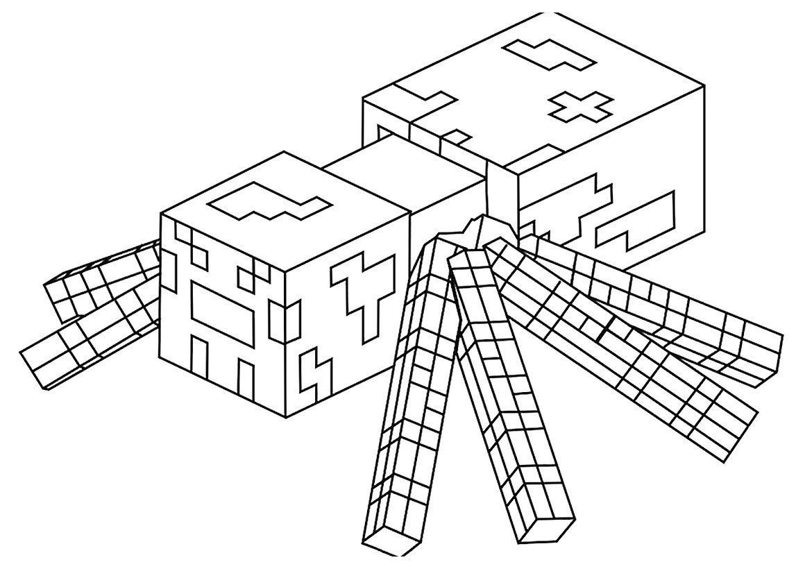 Раскраска Паук из Майнкрафт