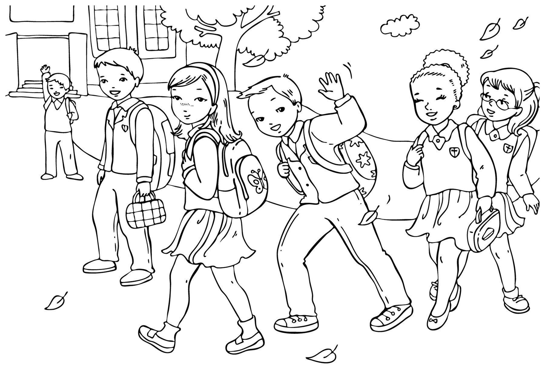 Раскраска Учительница читает детям - распечатать бесплатно ...