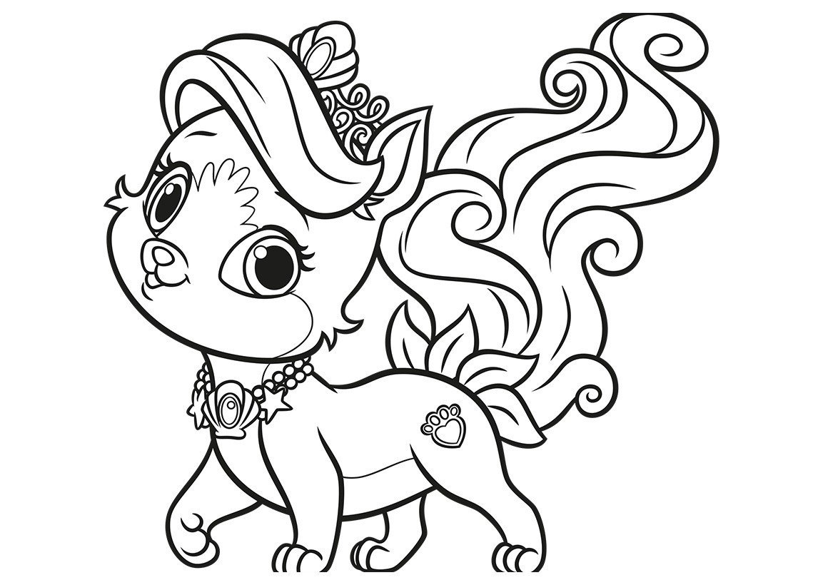 Раскраска Питомец Ариэль котёнок Жемчужинка
