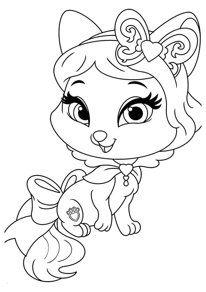 Раскраска Питомец Белоснежки котёнок Пироженка