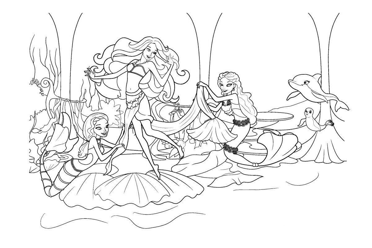 Раскраска Праздник русалочки Барби