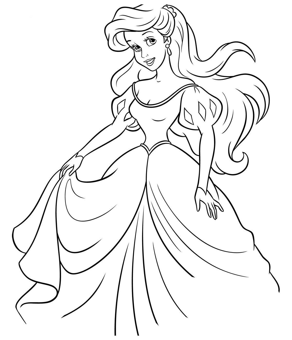 Раскраска Ариэль в бальном платье - распечатать бесплатно ...