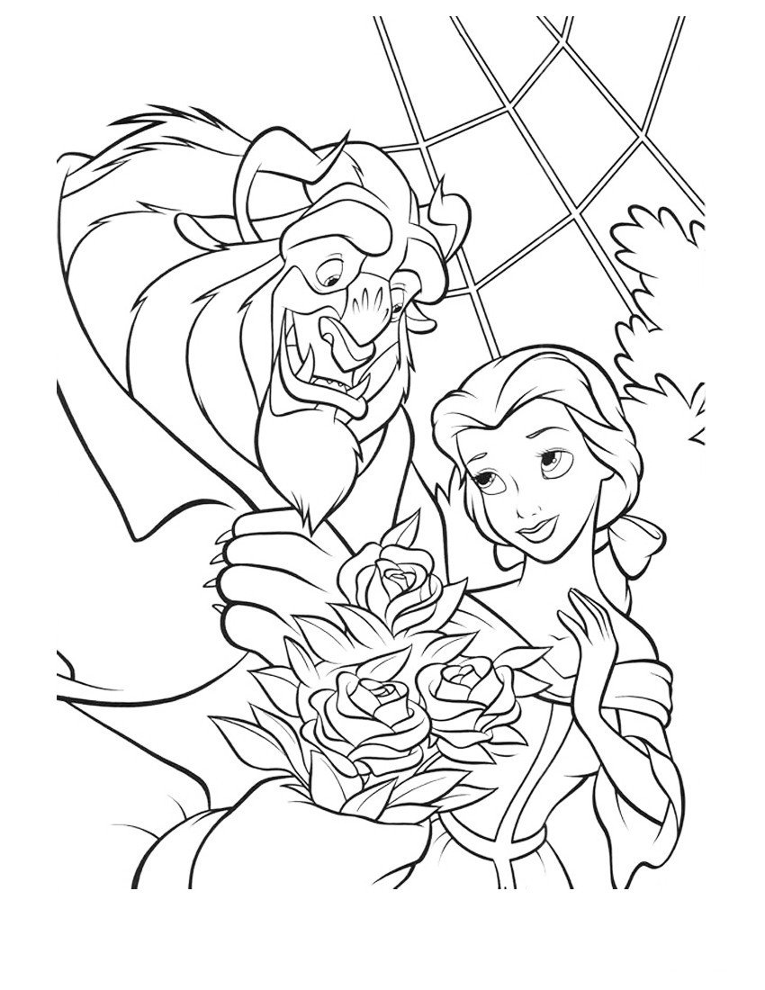 Раскраска Принцесса получает в подарок от чудовища розы