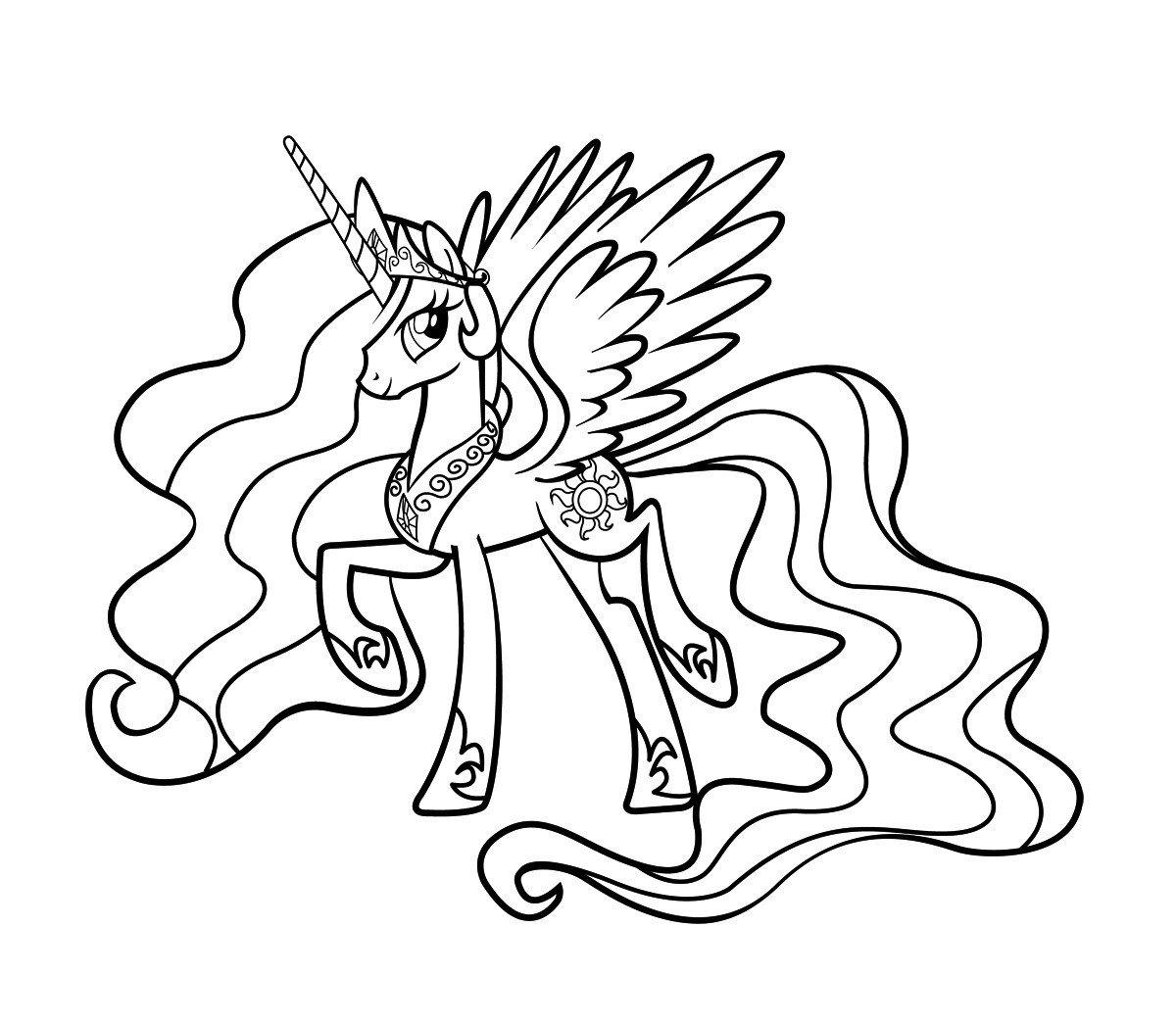 Раскраска Принцесса Селестия