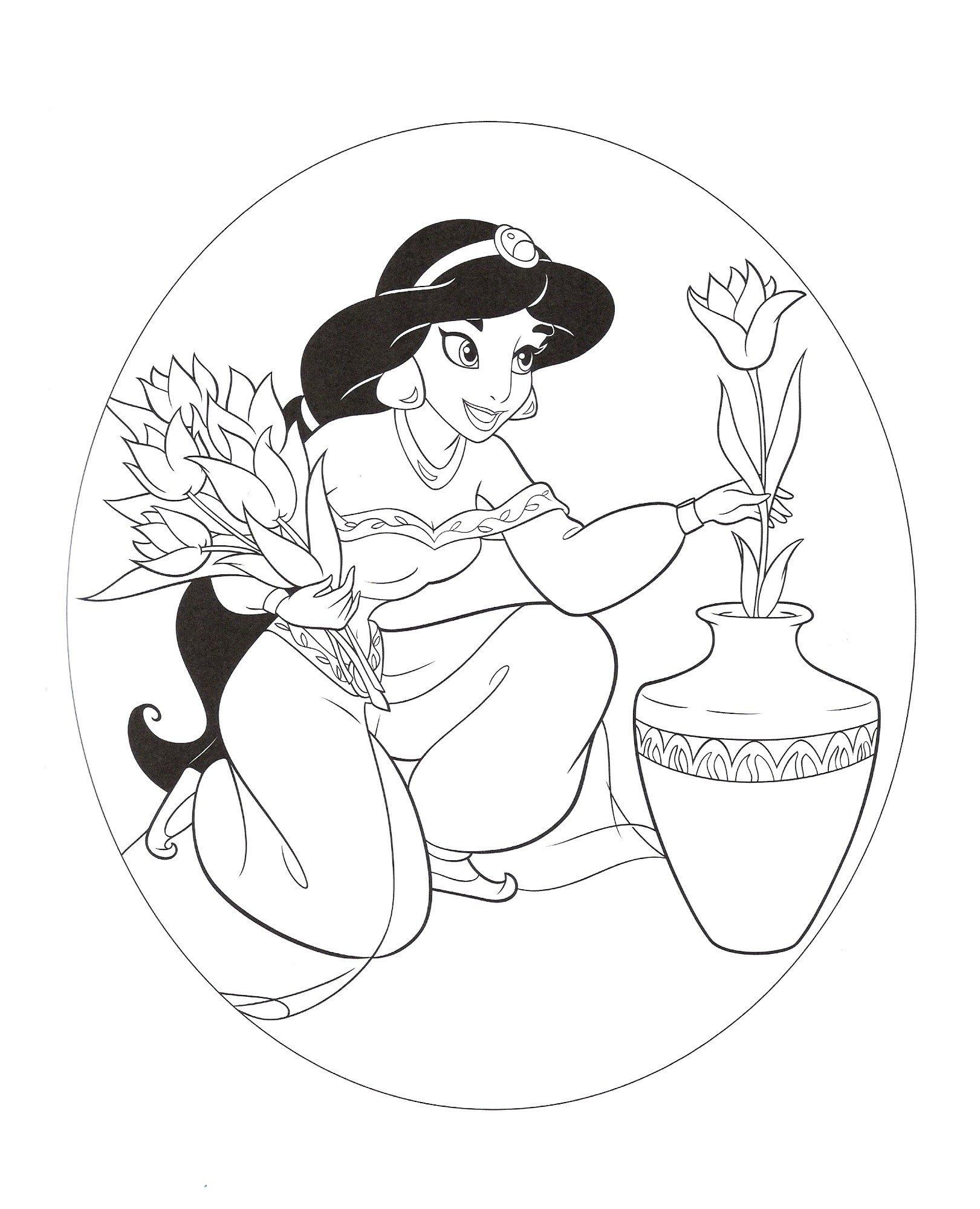 Раскраска Принцесса Жасмин с цветами