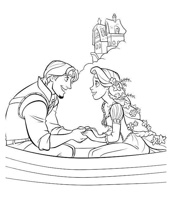 Раскраска Рапунцель и Флинн вдвоем в лодке