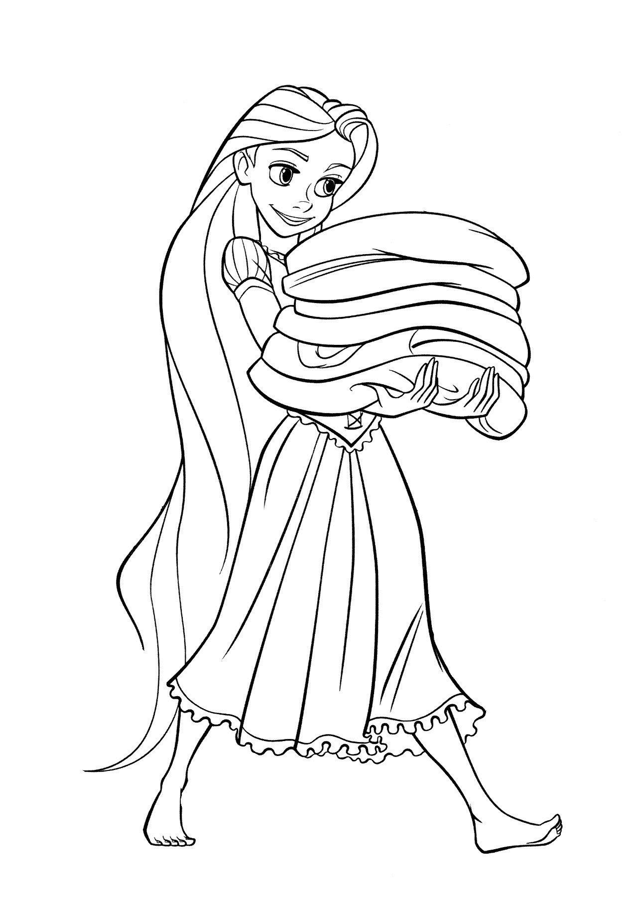 Раскраска Рапунцель несет полотенца