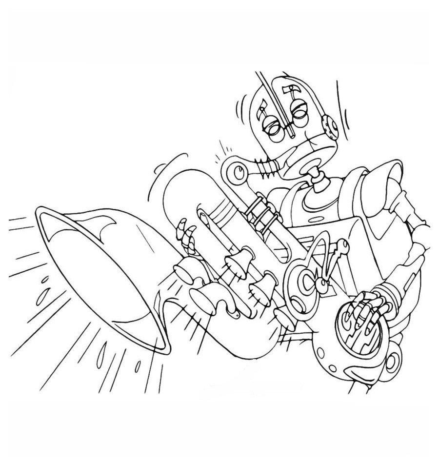 Раскраска Робот играет на саксофоне