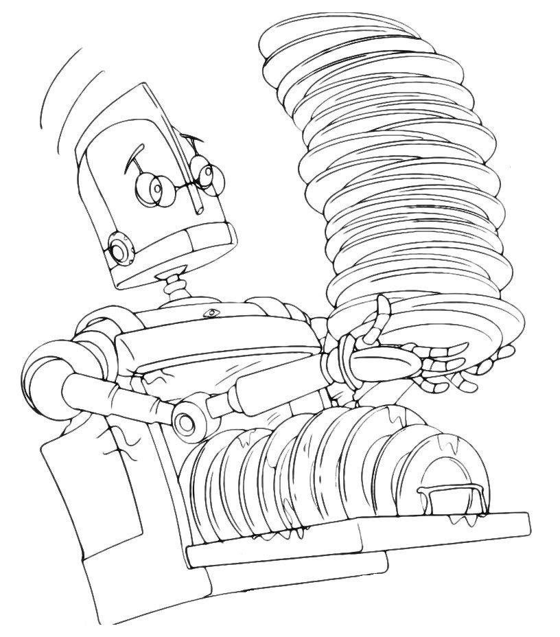 Раскраска Робот несет тарелки