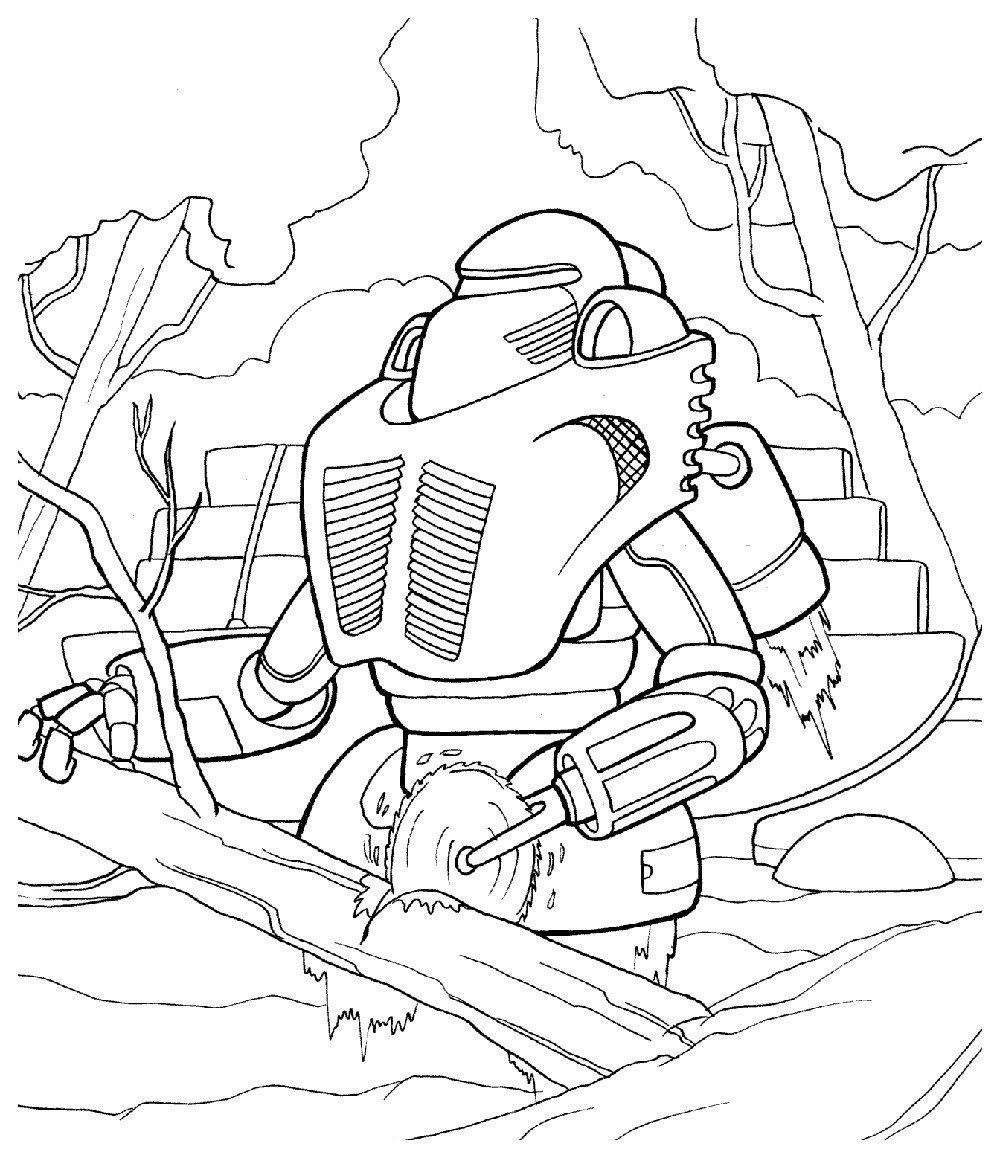 Раскраска Робот пилит дрова