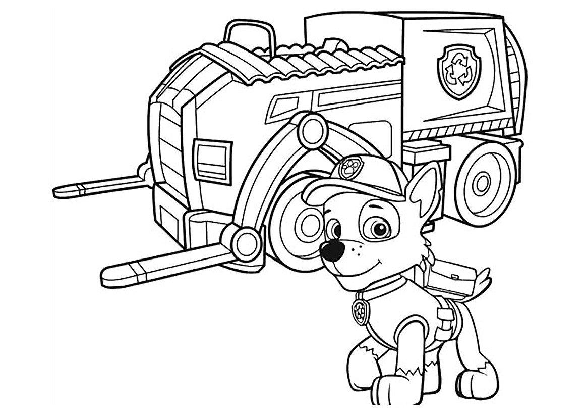 Раскраска Рокки и мусоровоз