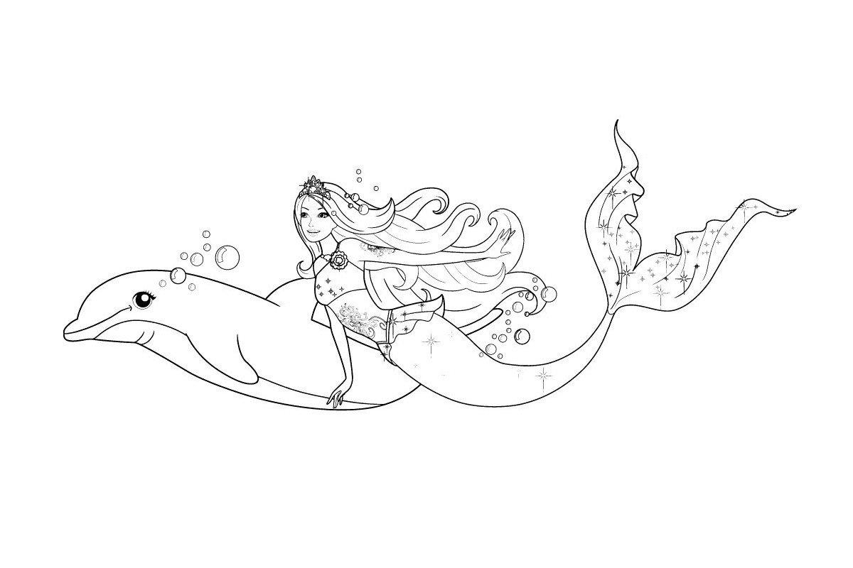 раскраска русалка барби с дельфином распечатать бесплатно