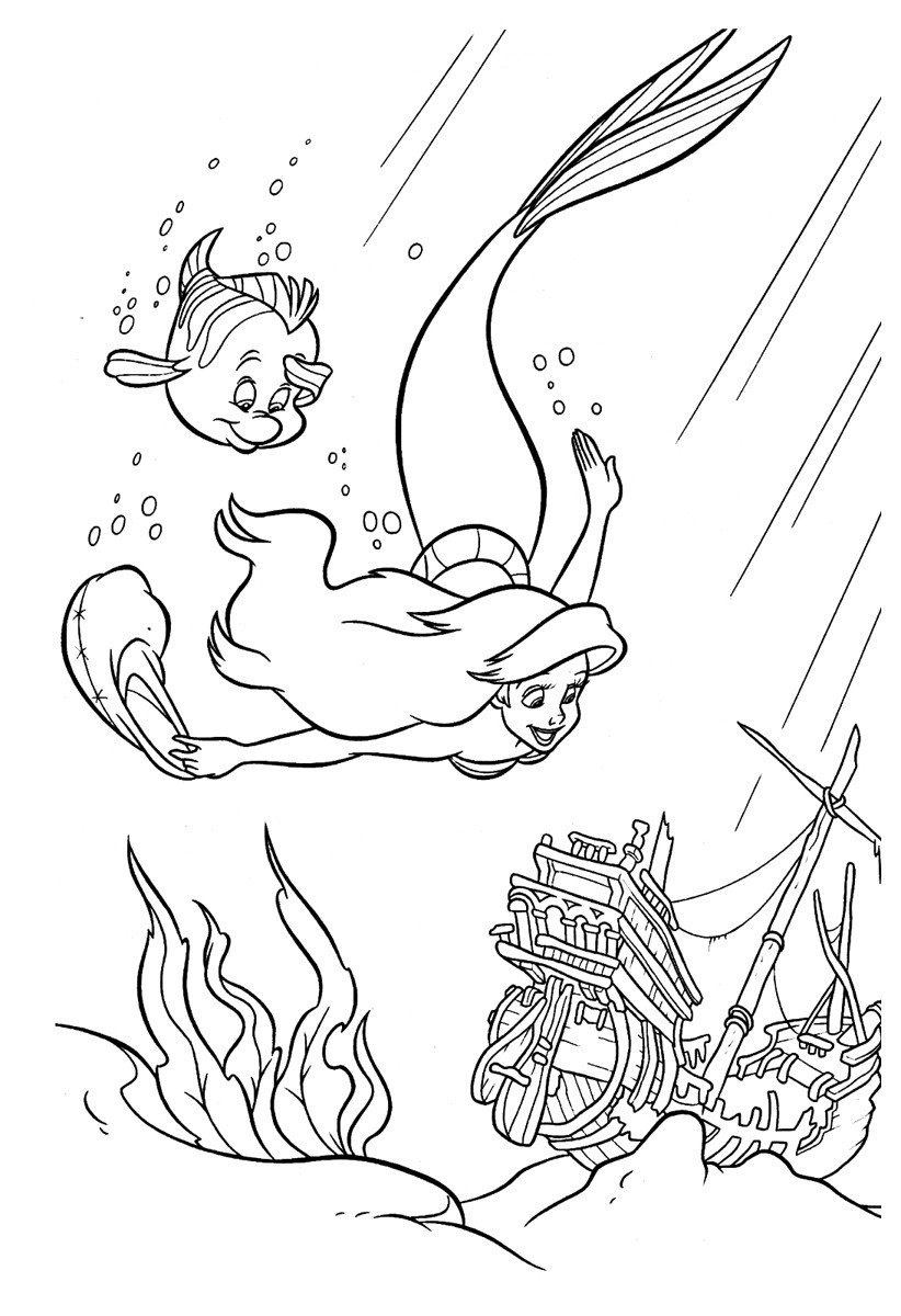 Раскраска Русалочка и затонувший корабль - распечатать ...