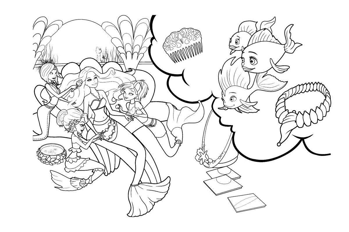 Раскраска Рыбки любуются Барби русалочкой