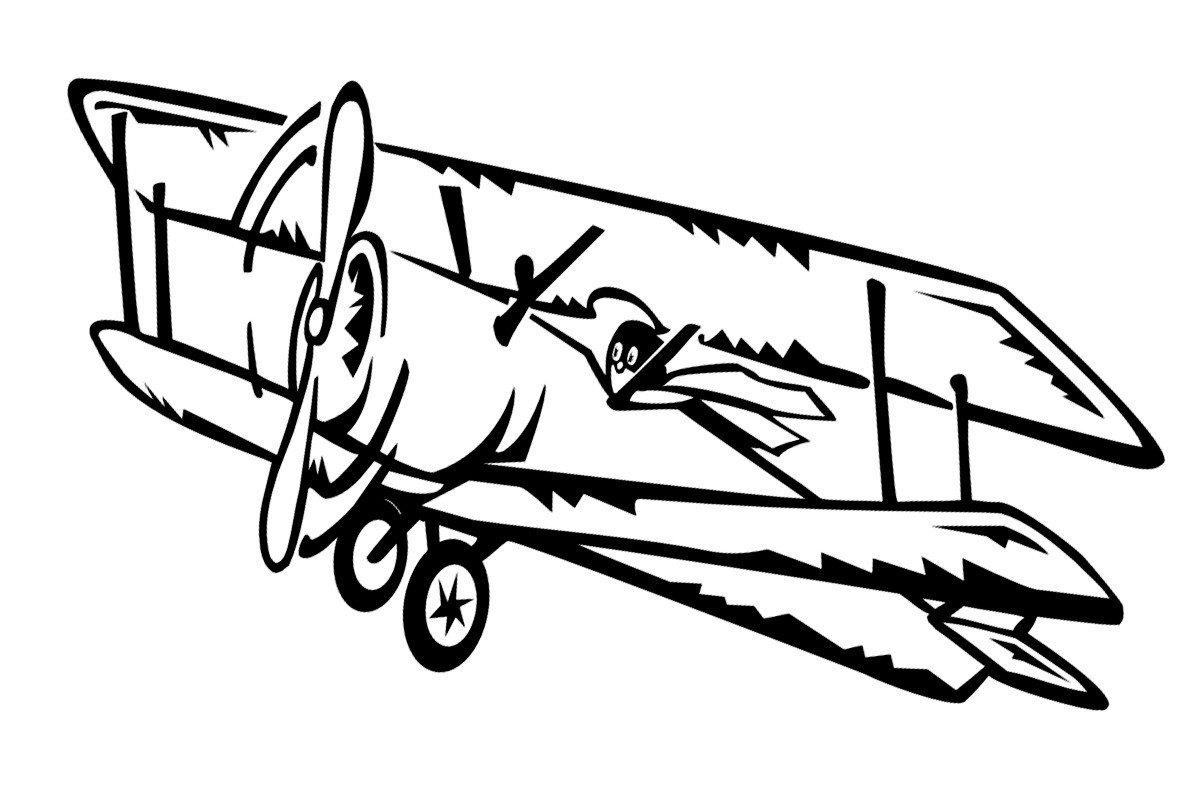 Раскраска Самолет-биплан