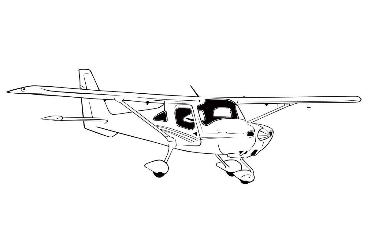 Раскраска Самолет Cessna Skycatcher