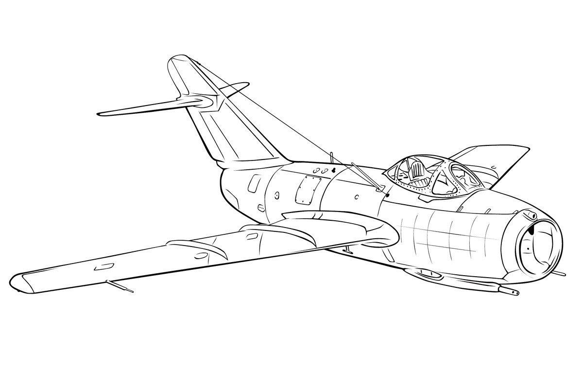 Раскраска Самолет МИГ-15