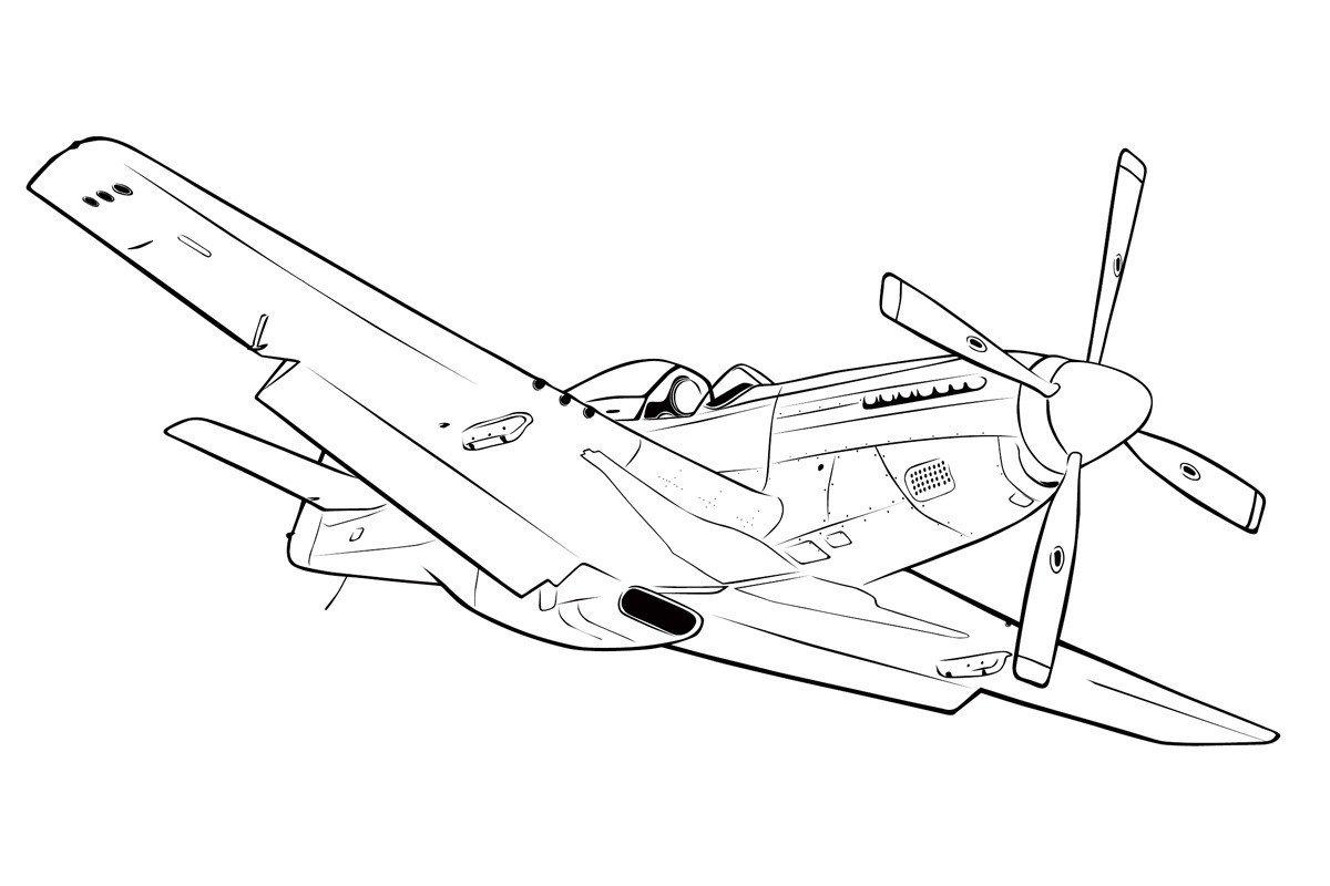 Раскраска Самолет Норт Америкэн Р-51 Мустанг