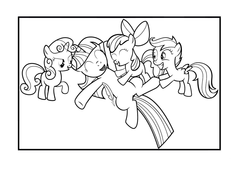 Раскраска Счастливые пони
