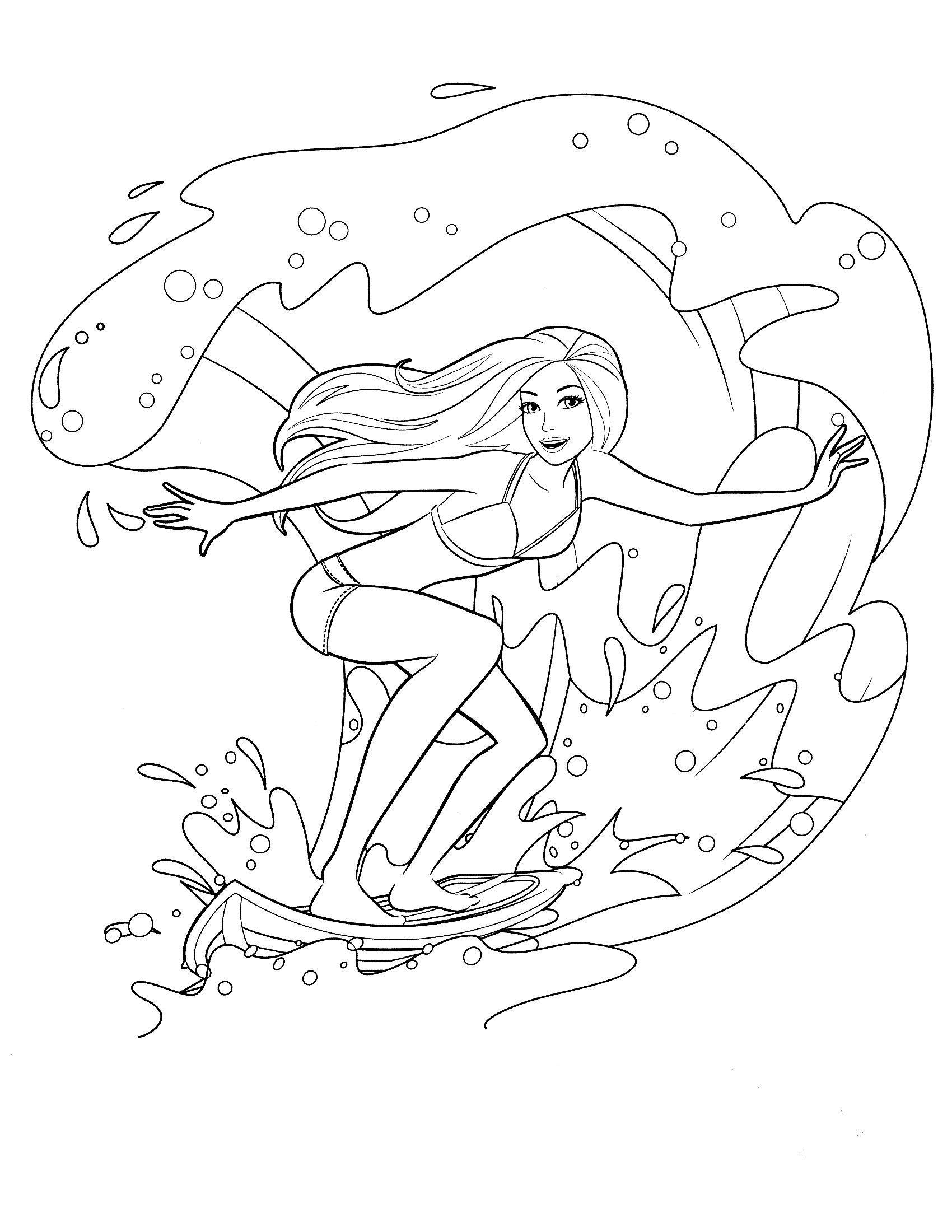 Раскраска Серфинг с Барби
