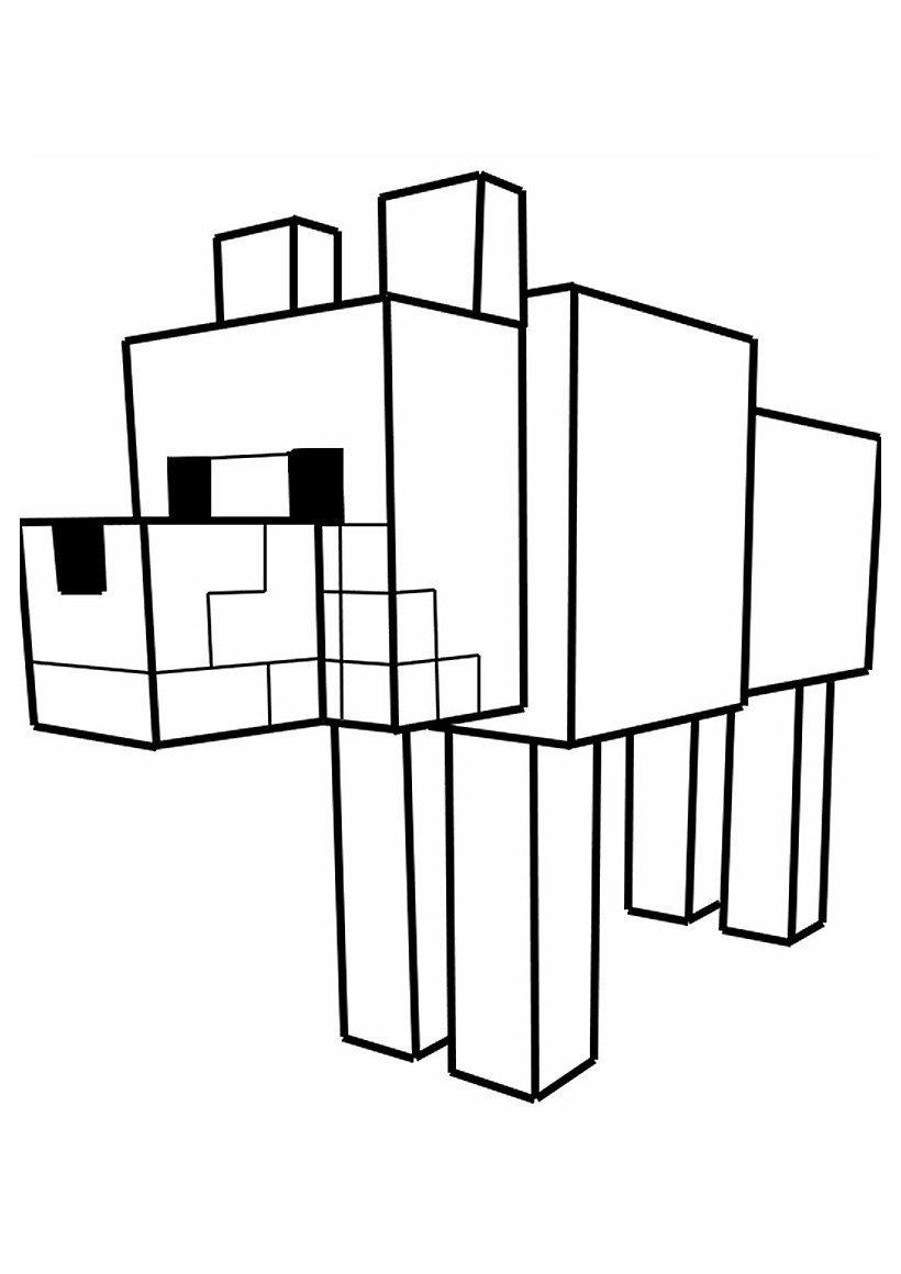 Раскраска Собака из Майнкрафт