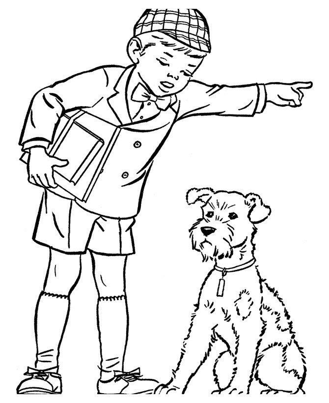 картинка человек и собака раскраска них