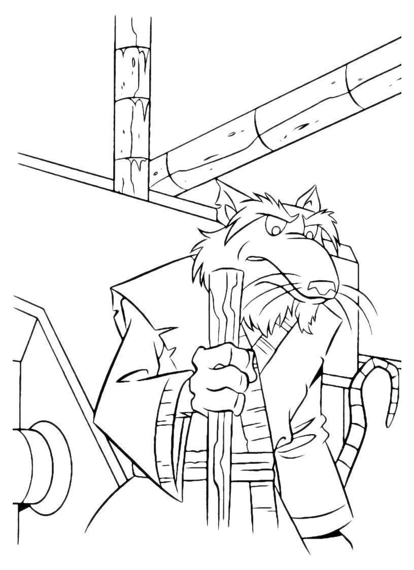 Раскраска Сплинтер с палкой